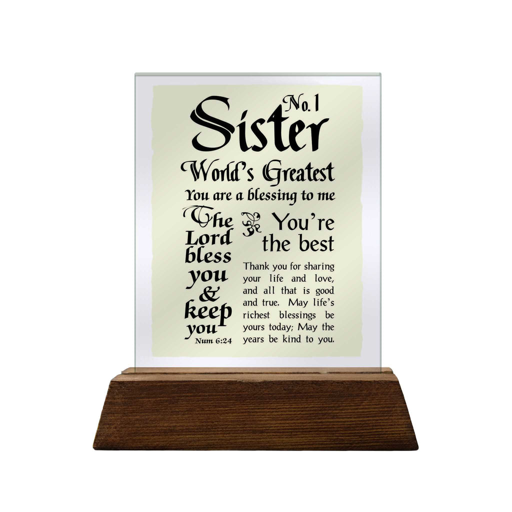 No.1 Sister Glass Plaque