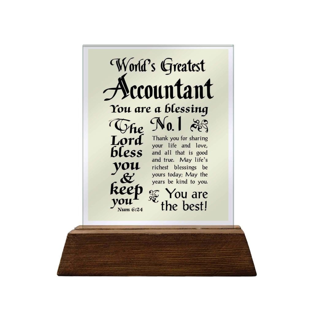 No.1 Accountant Glass Plaque
