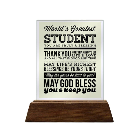 World's Greatest Student Glass Plaque