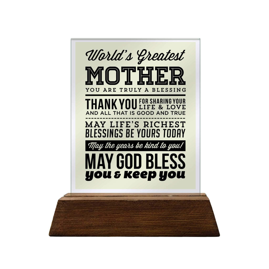 World's Greatest Mother Glass Plaque