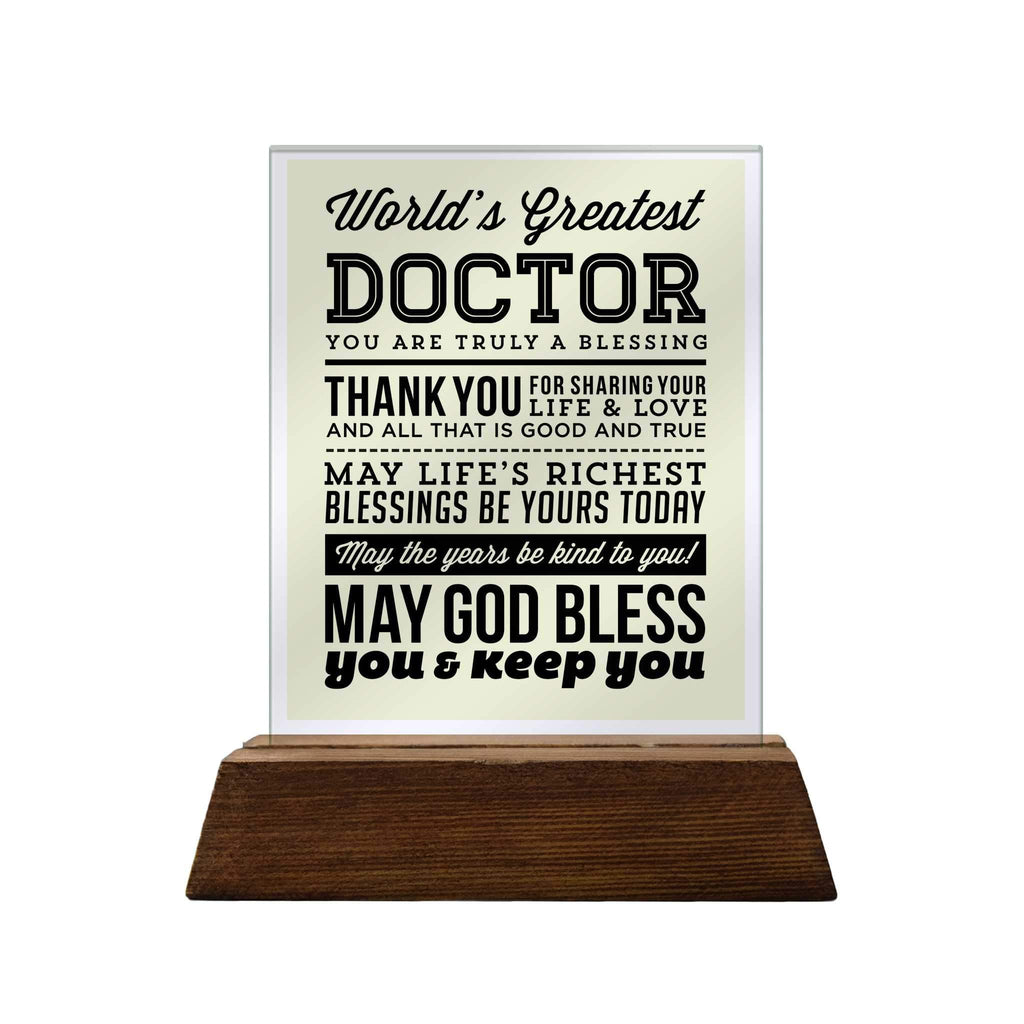 World's Greatest Doctor Glass Plaque