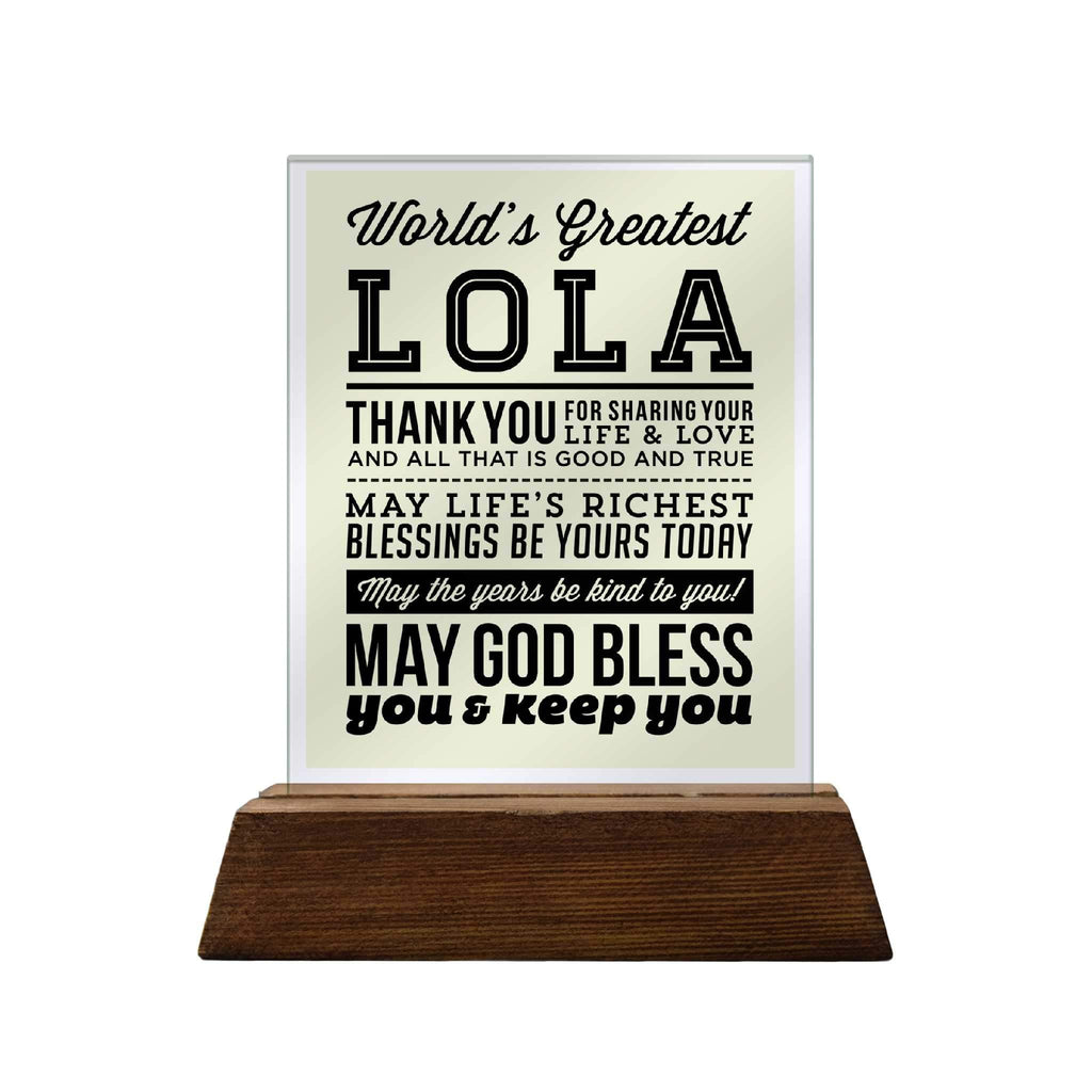 World's Greatest Lola Glass Plaque