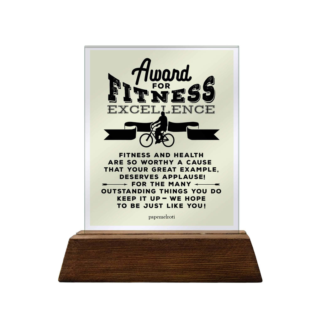Award for Fitness Excellence Glass Plaque