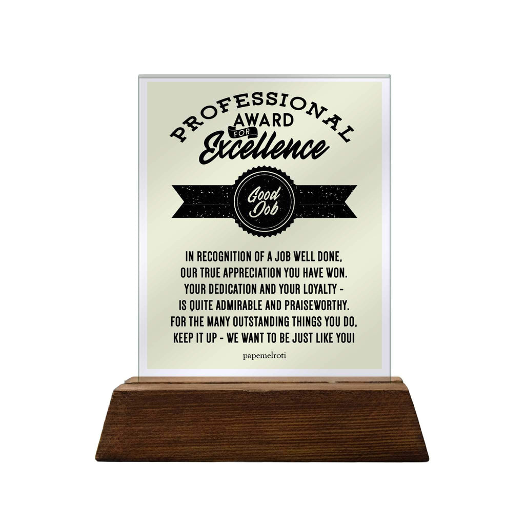 Professional Award for Excellence Glass Plaque