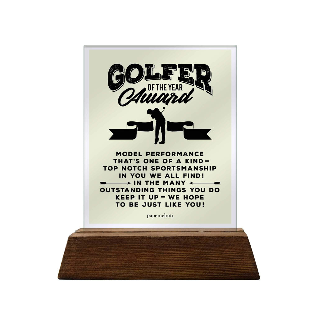 Golfer of the Year Award Glass Plaque