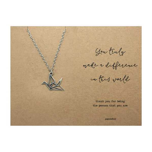 Paper Crane Necklace Jewelry Gift Card
