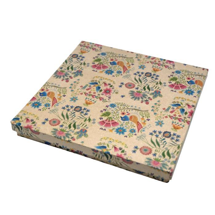 Square Flat Gift Box: Birds on Bough