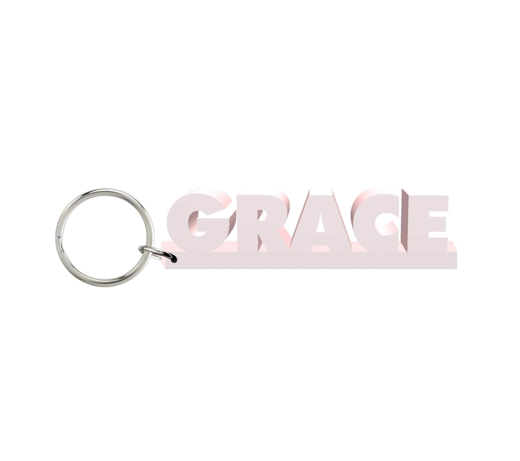 Grace Wooden Name Keychain