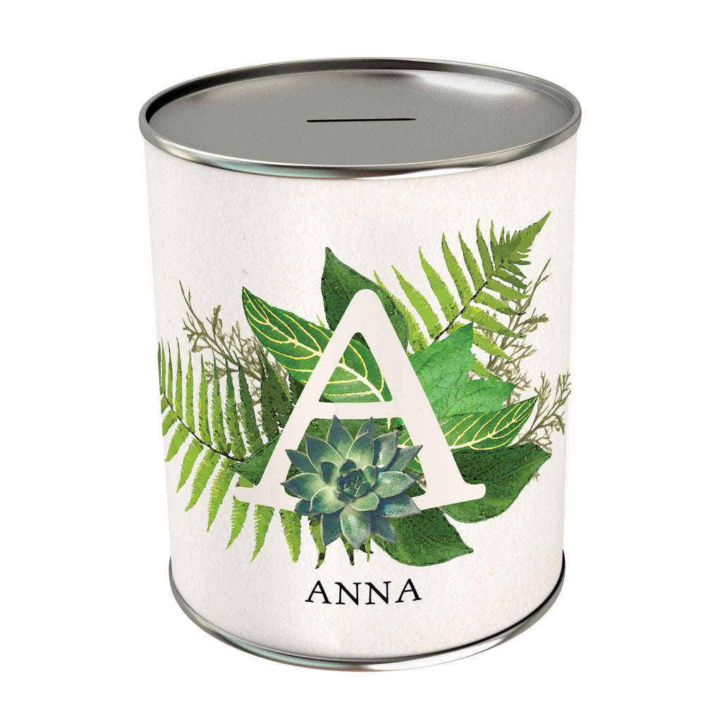 Botanical Monogram Personalized Coin Bank