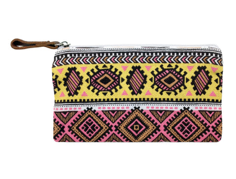 Aztec Pouch: Pink & Yellow
