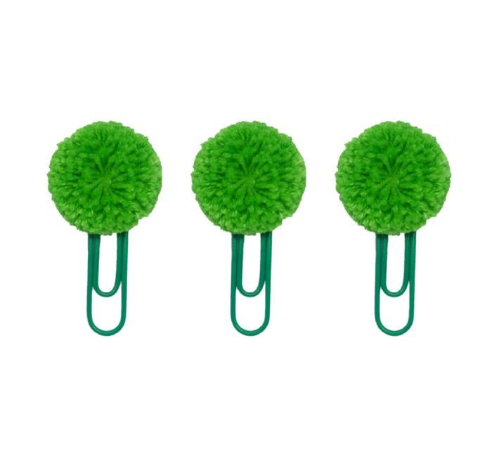 Green Pompom Paper Clips