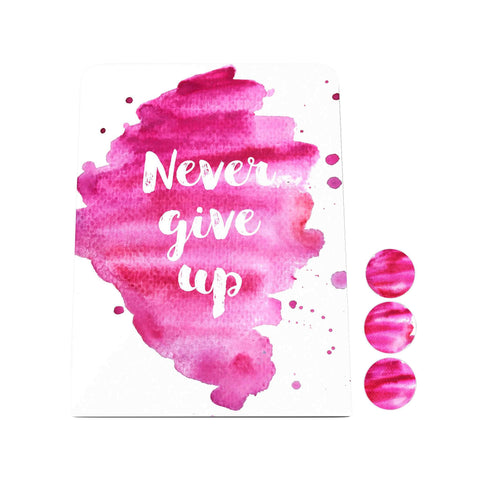 Watercolor: Never Give Up Desk Magnet Board
