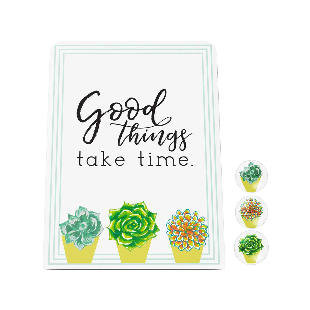 Bloom and Grow: Good Things Take Time Desk Magnet Board