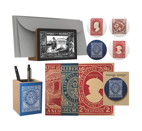 Vintage Philippine Stamps Desk Gift Set