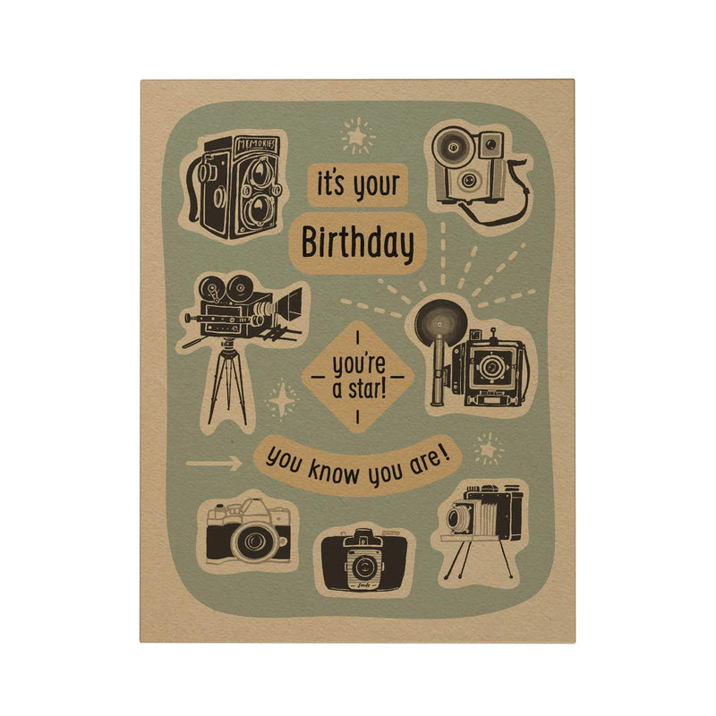 postcard holiday cards lettering print cards collection postcrossing gift bday cards ready to ship Happy birthday card narozeniny