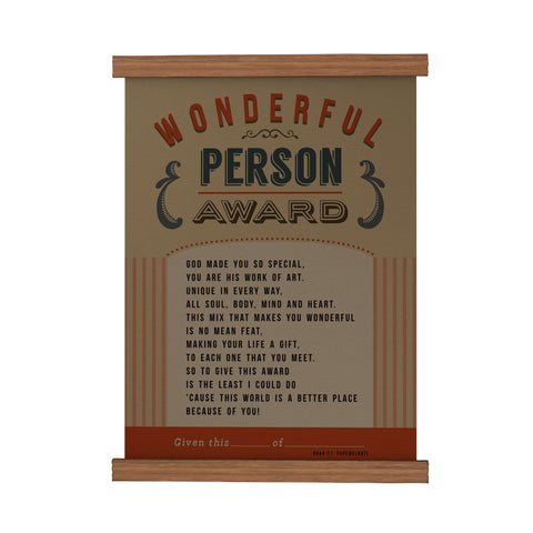 Wonderful Person Award Scroll Poster