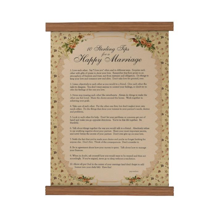 Sterling Tips for a Happy Marriage Scroll Poster