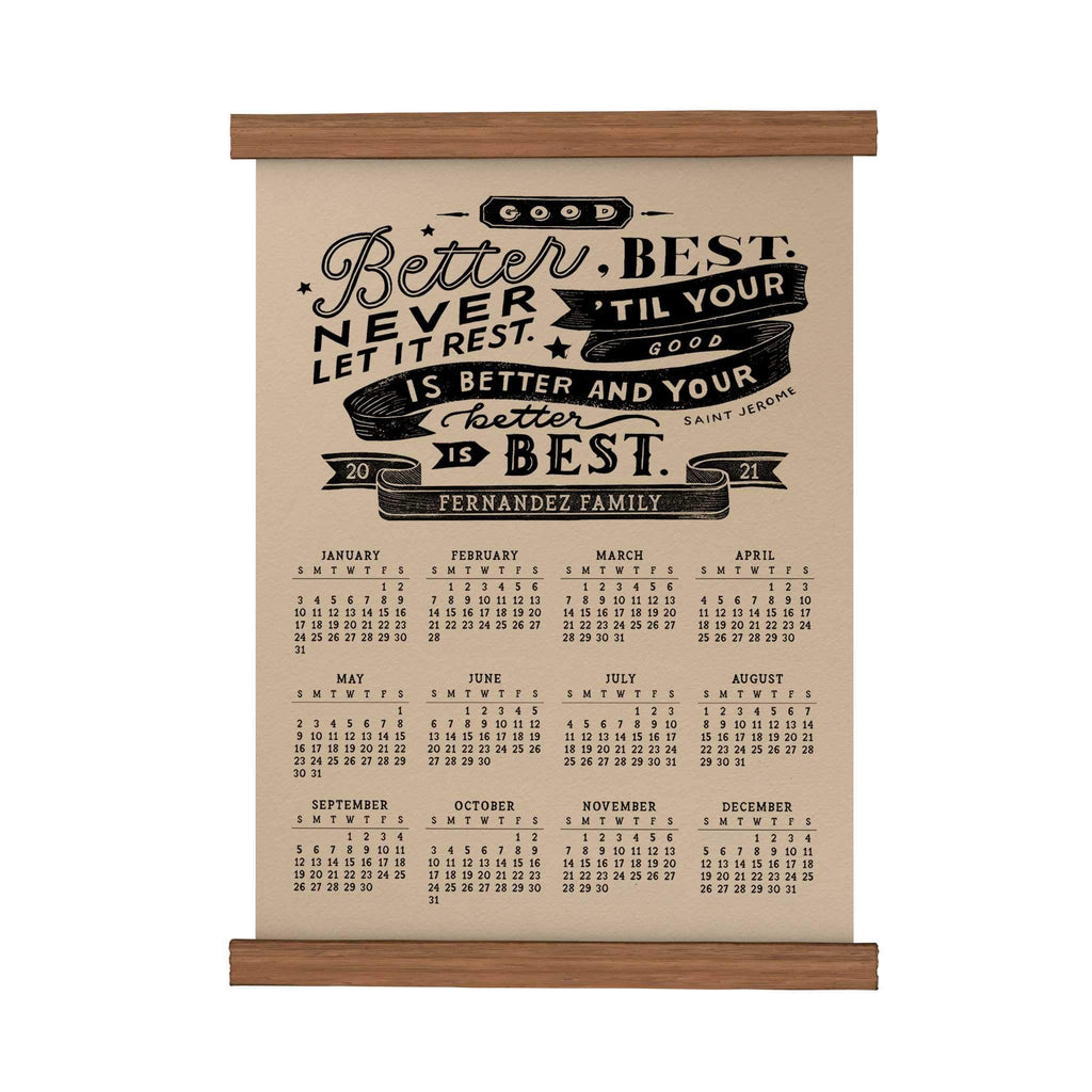 Good Better Best Personalized Scroll Calendar 2021