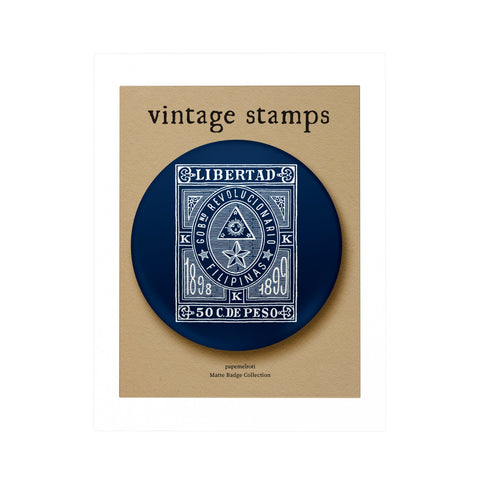 Vintage Philippine Stamp Badge: Libertad