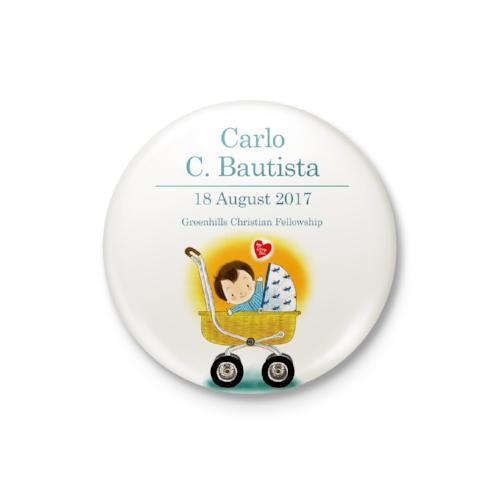 Baby in Crib Boy Personalized Badge