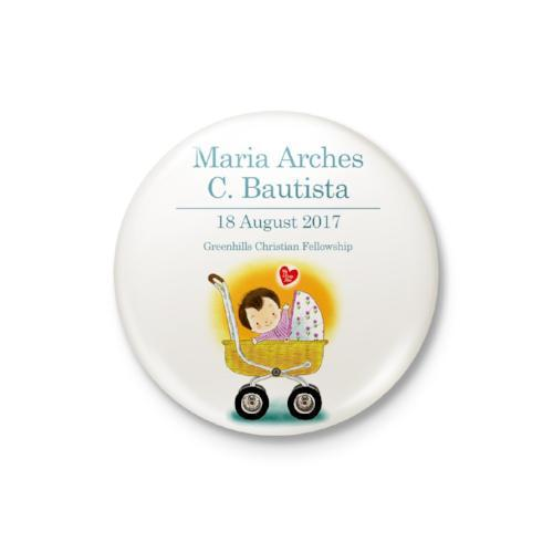 Baby in Crib Girl Personalized Badge