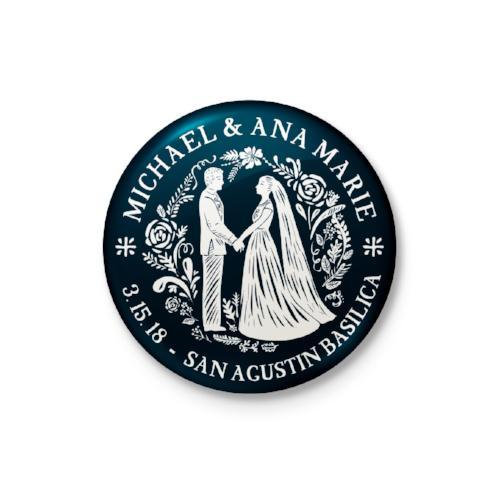 Wedding Silhouette Personalized Badge