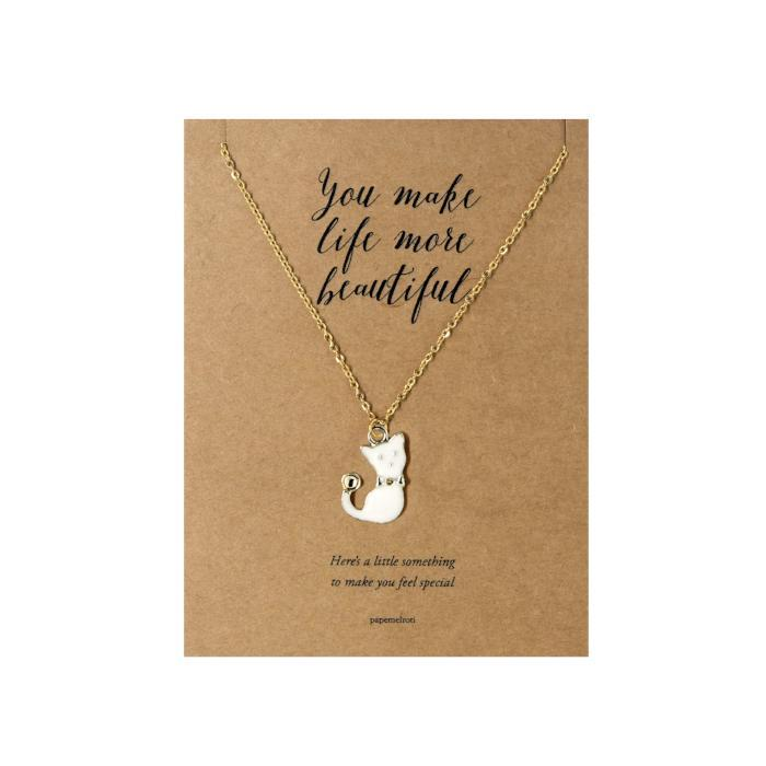White Cat Necklace Jewelry Gift Card