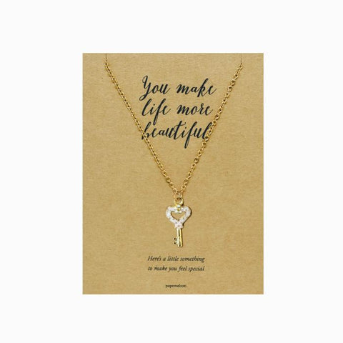 Flower Heart Key Necklace Jewelry Gift Card
