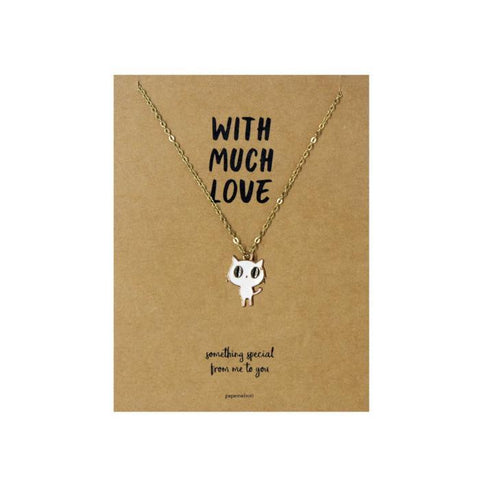 Fat Head Cat Necklace Jewelry Gift Card