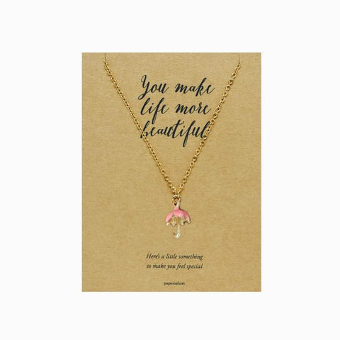 Umbrella Necklace Jewelry Gift Card