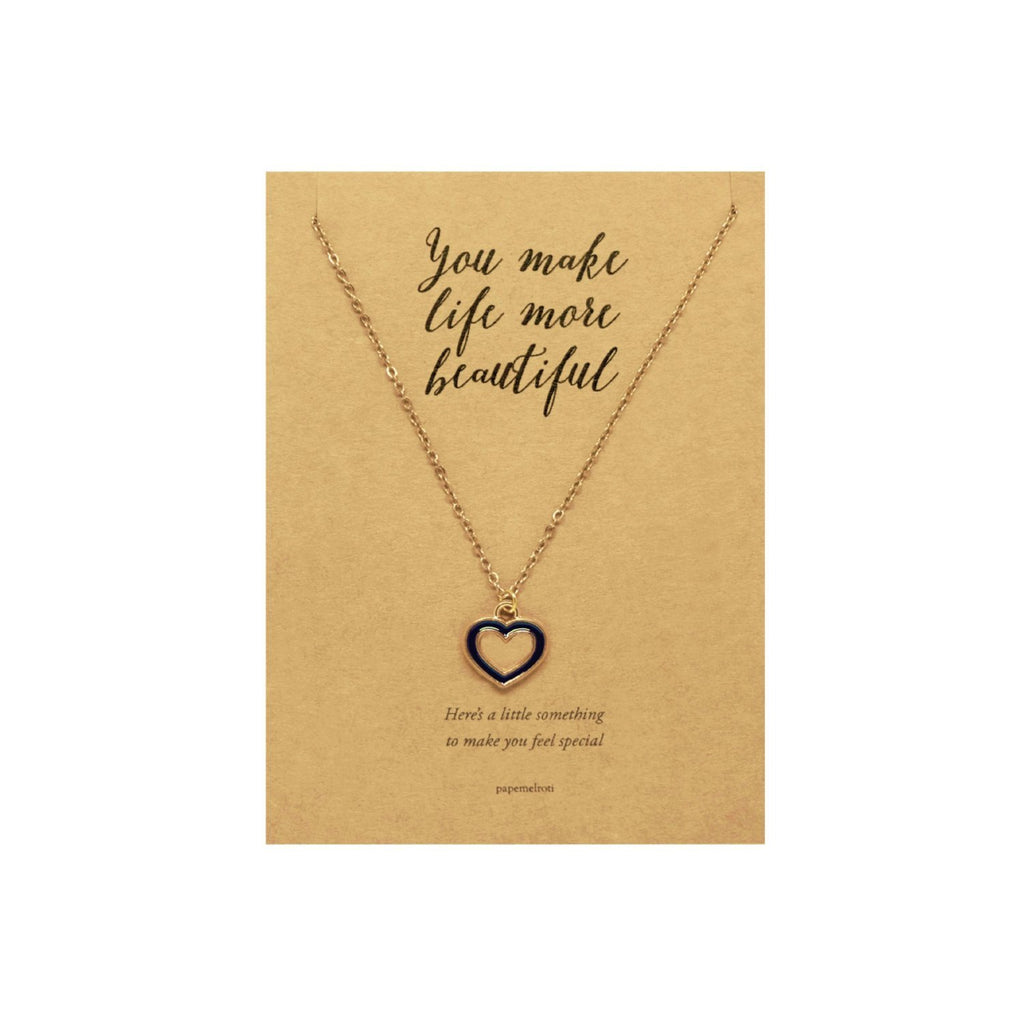 Black Heart Necklace Jewelry Gift Card