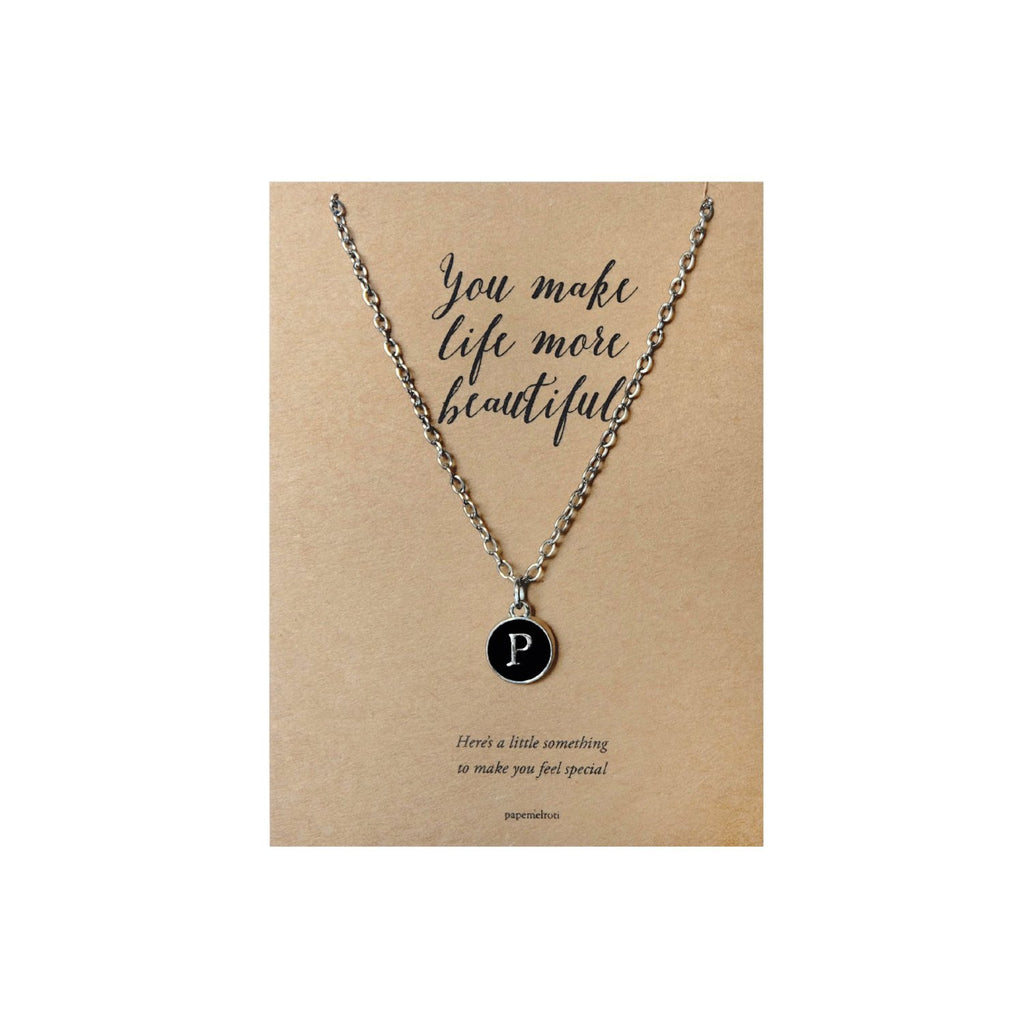 Letter P Necklace Jewelry Gift Card