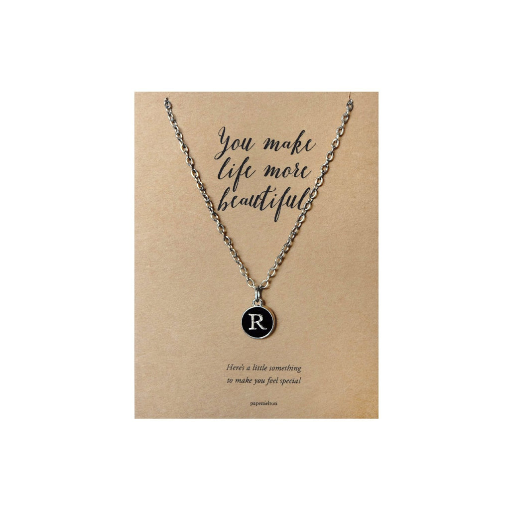 Letter R Necklace Jewelry Gift Card