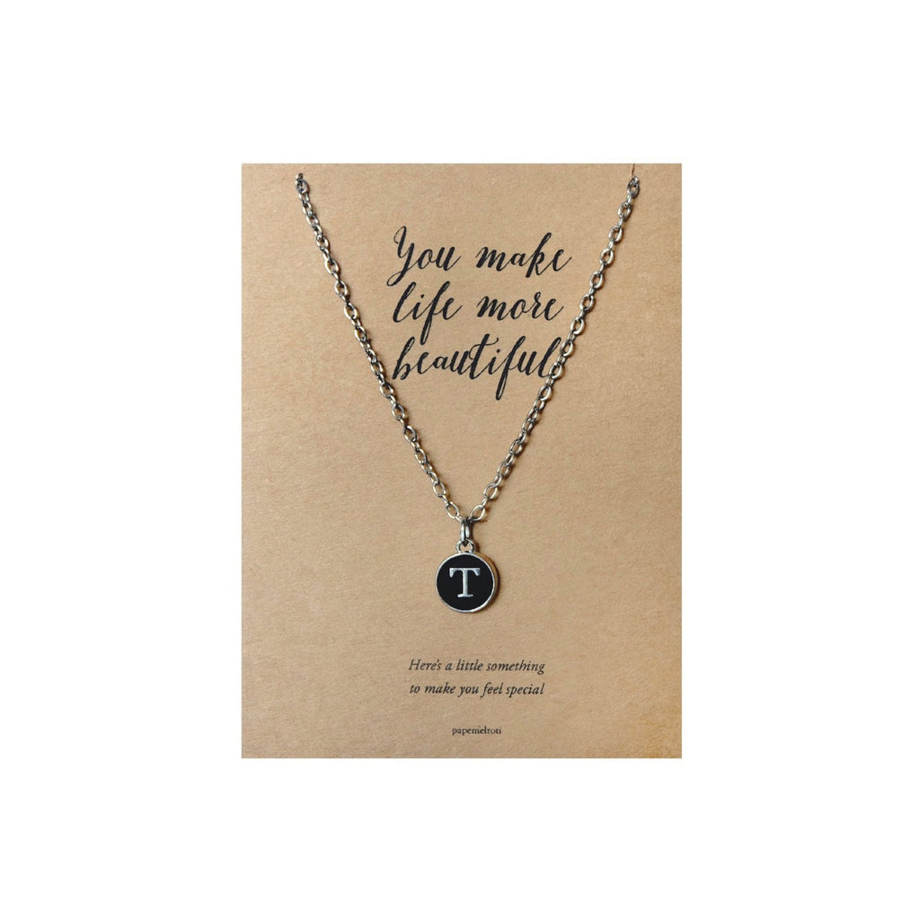 Letter T Necklace Jewelry Gift Card