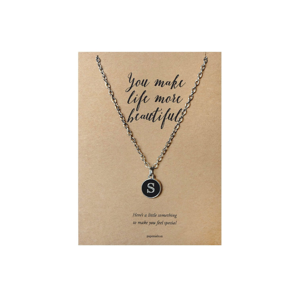 Letter S Necklace Jewelry Gift Card