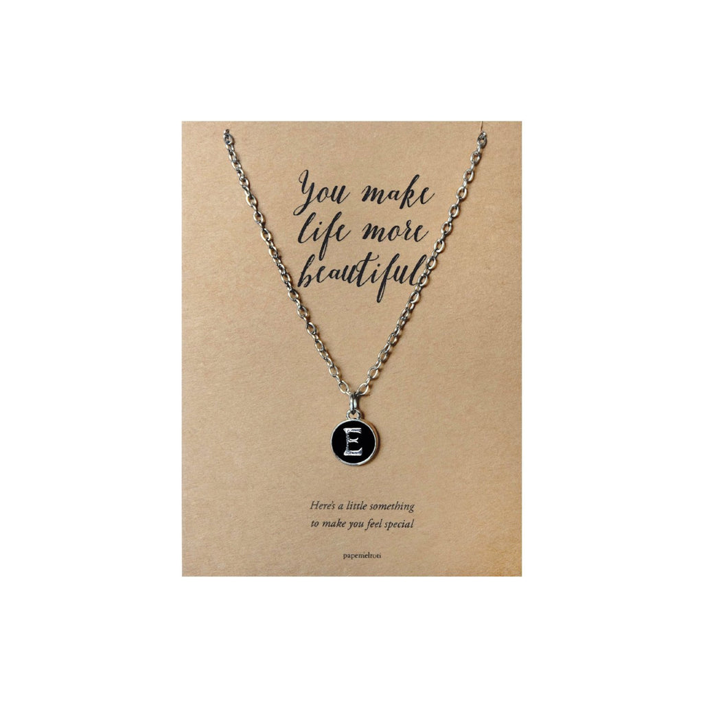Letter E Necklace Jewelry Gift Card