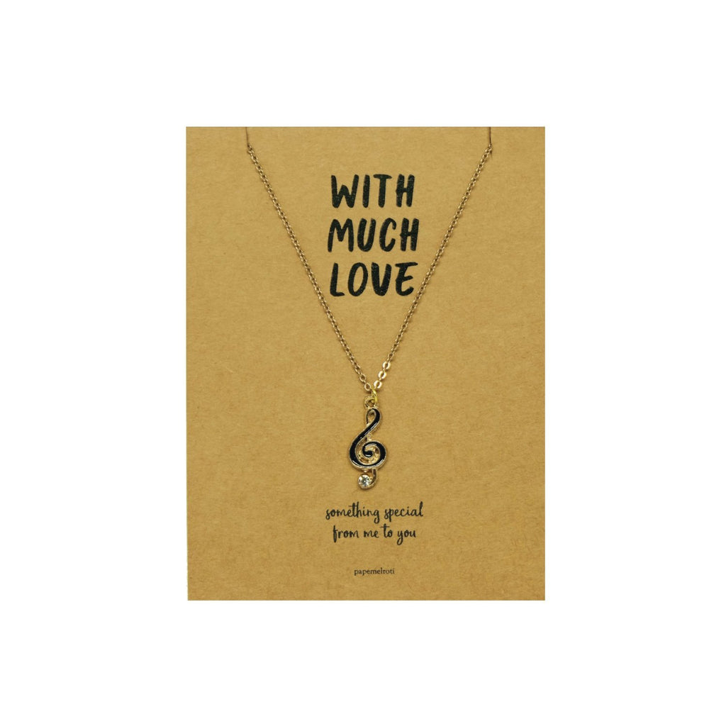 G-Clef Necklace Jewelry Gift Card: Black
