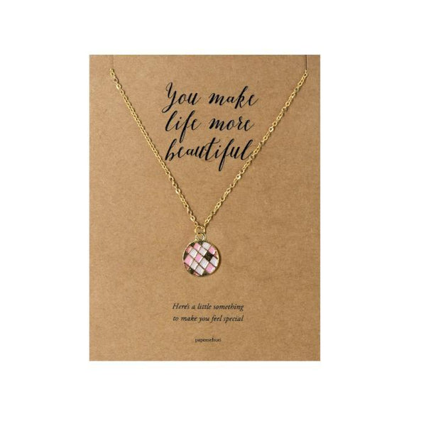 Round Quilt Necklace Jewelry Gift Card: Pink