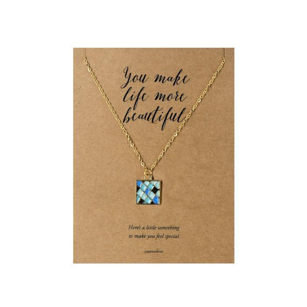 Square Quilt Necklace Jewelry Gift Card