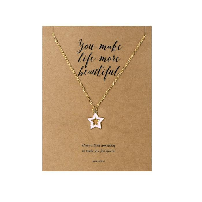 Pink Star Necklace Jewelry Gift Card
