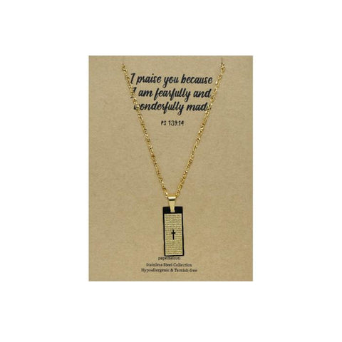 Our Father Cross Gold Necklace: Rectangular