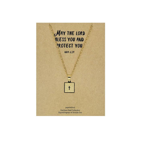 Our Father Cross Gold Necklace: Square