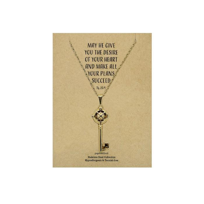Key Gold Necklace: Compass