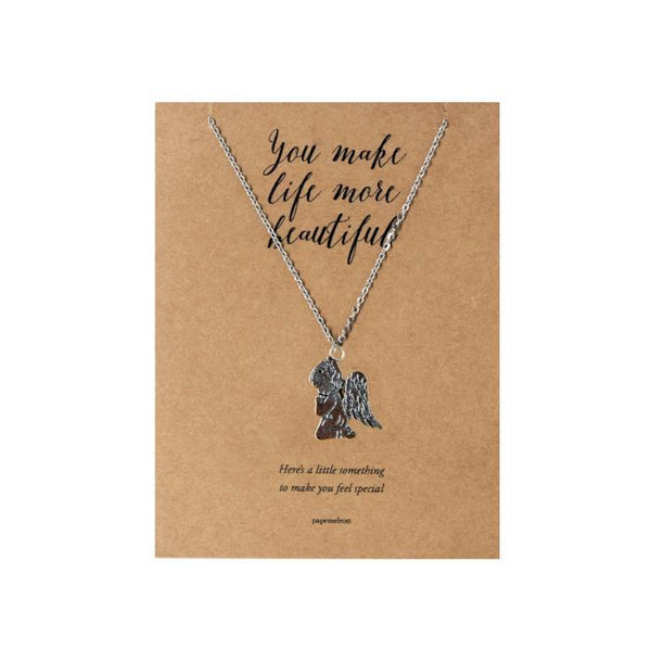 Praying Angel Necklace Jewelry Gift Card