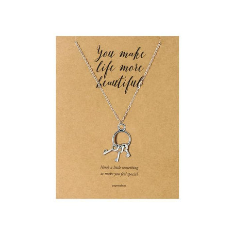Keys: Silver Necklace Jewelry Gift Card