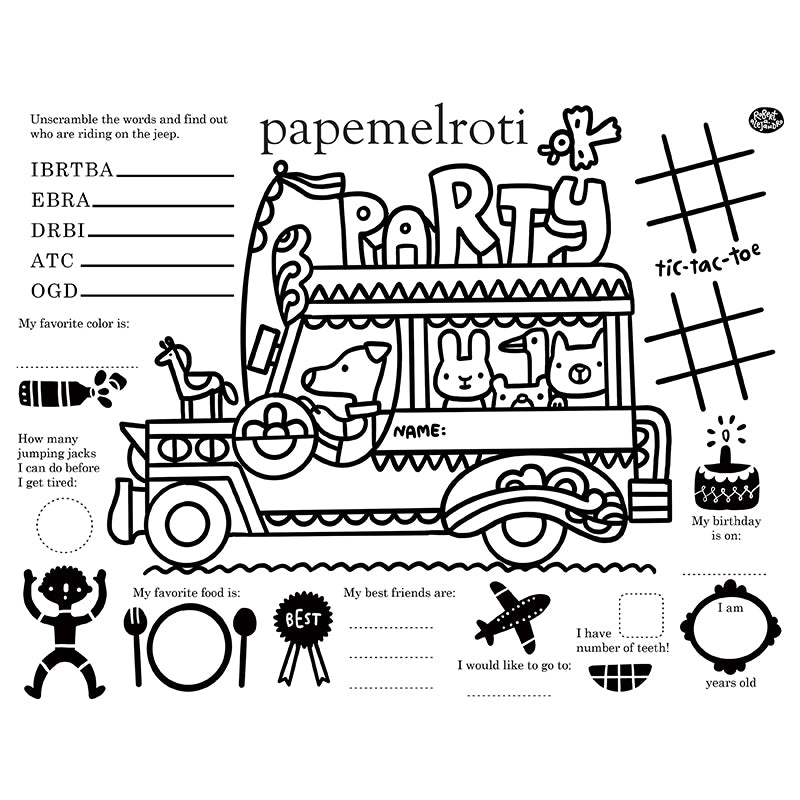 Animal Jeepney Printable Activity Placemat