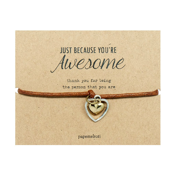Double Heart Cord Bracelet Jewelry Gift Card