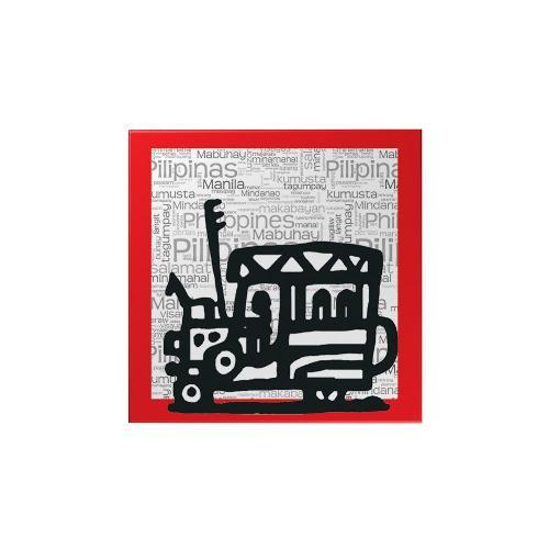 Christmas Jeepney.Philippine Jeepney Magnet Red