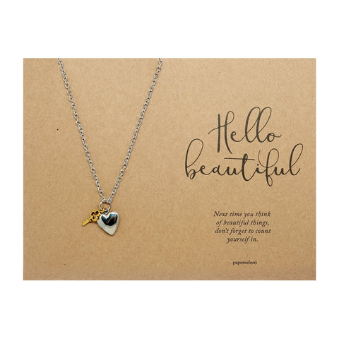 Heart Locket and Key Necklace Jewelry Gift Card