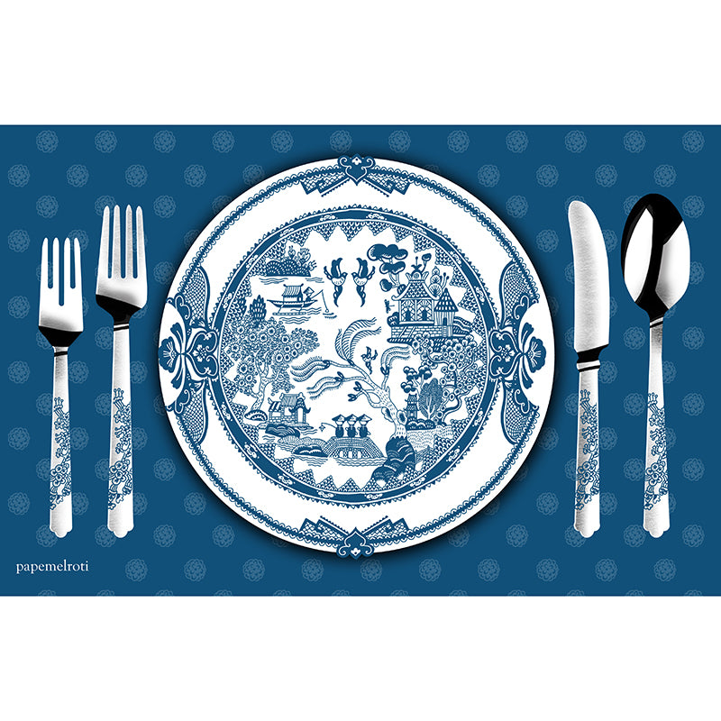 Japanese Blue Printable Party Placemat
